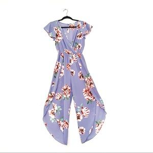 Fig & Olive Purple Maxi Floral Wrap Romper